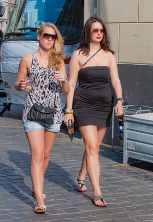 Breda, North-Brabant, Netherlands, June 4, 2011, Jazzfestval 2011,  Two young women