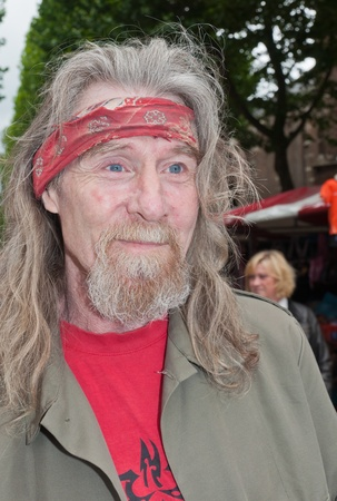 noord brabant: Terheijden, North-Brabant, Netherlands, June 19, 2011, Annual fair Traaierie 2011, Street portrait of an old hippie