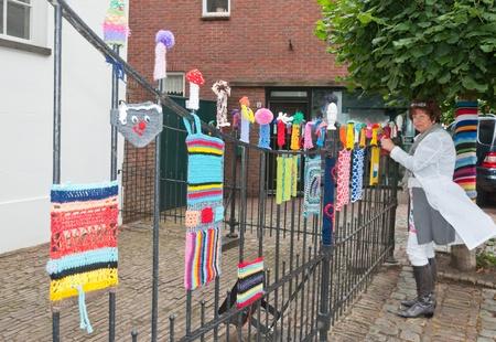 drimmelen: Terheijden, North-Brabant, Netherlands, June 19, 2011, Annual fair Traaierie 2011, Wild knitting for the white chapel