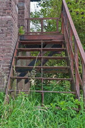 flaking: Old stairs with flaking rusty steps between the weeds