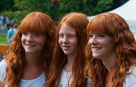 Breda, North-Brabant, Netherlands, September 4, 2011, Redhead Day in the Dutch city of Breda. Thousands of redheads came to meet each other, to get information and to show themselves and to be photographed. Stock Photo - 10573235