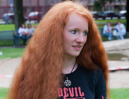 Breda, North-Brabant, Netherlands, September 4, 2011, Redhead Day in the Dutch city of Breda. Thousands of redheads came to meet each other, to get information and to show themselves and to be photographed. Stock Photo - 10573242