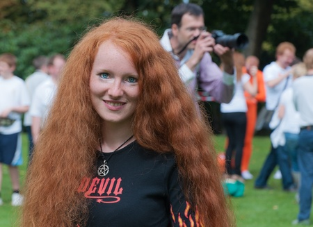 Breda, North-Brabant, Netherlands, September 4, 2011, Redhead Day in the Dutch city of Breda. Thousands of redheads came to meet each other, to get information and to show themselves and to be photographed. Stock Photo - 10573240