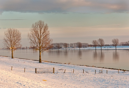 Low sunlight over the river Bergse Maas in the Netherlands Stock Photo - 10893852