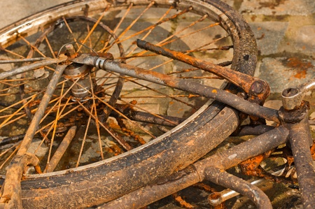 Closeup of a rusty bicycle fished from a canal in the Dutch city of Breda photo