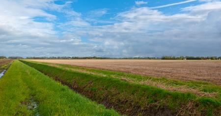 Gras, een sloot, geoogst maïsveld en een bewolkte hemel in Nederland