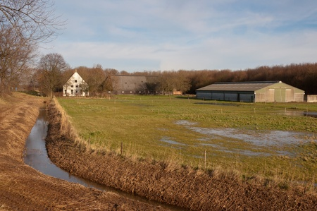 Farm and stable in a rural countryside in the Netherlands. It is winterand there are puddles on the pitch. Stock Photo