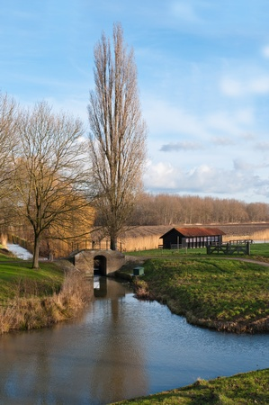 Picturesque Dutch countryside near the village of Klundert (municipality of Moerdijk, North Brabant) at the beginning of winter. photo