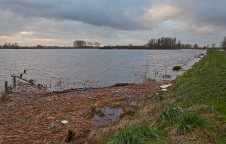 dikes: Lage Zwaluwe, North-Brabant, Netherlands - January 6, 2012 - The water level in the Dutch nature reserve Gat van den Ham is very high due to the rainfall. The dikes are monitored.
