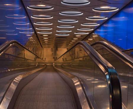 Escalator between the Dutch Schiphol airport and the underground railway