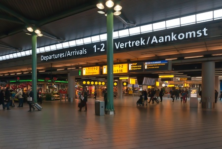 Departure and Arrival hall at the Dutch Schiphol Airport.