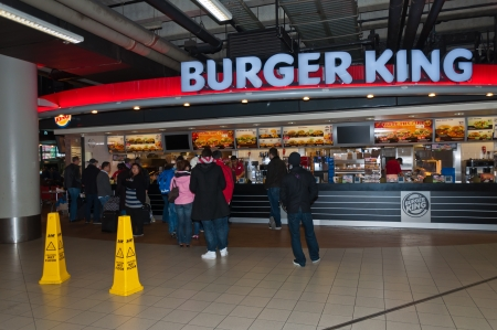 Schiphol, North-Holland, Netherlands - January 21, 2012 - Burger King  snacks at the Dutch Schiphol Airport near the city of Amsterdam.
