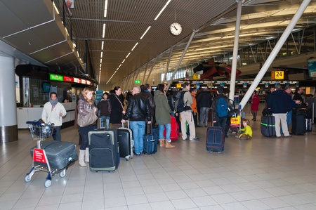 Schiphol, North-Holland, Netherlands - January 21, 2012 - Departure hall at the Dutch Schiphol Airport near the city of Amsterdam.