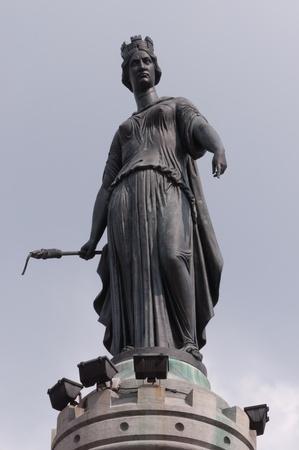 Colonne de la D'Atilde, a statue (year 1845) on the Grand'Place or Place du Gamp,Atilde ral de Gaulle in Lille, Nord-Pas de Calais, France. Stock Photo - 13404916