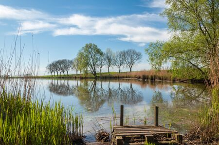 Small lake with a wooden fishing pier and perfect tree reflections in the smooth water surface  Stock Photo - 13389259