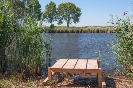 Wooden angling plateau at a natural pond in the Netherlands  Stock Photo - 13797327