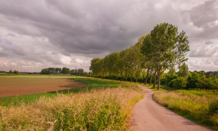 Country road in a rural area with threatening storm clouds.