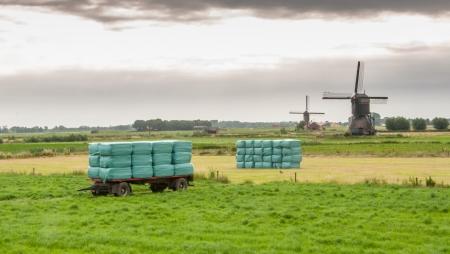 Gewikkeld hooi gestapeld op een aanhangwagen in het veld met windmolens op de achtergrond