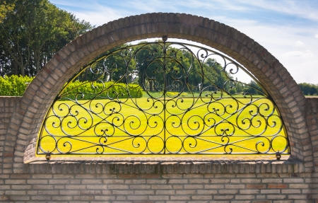 Ironwork fence with curves and a rural background. photo