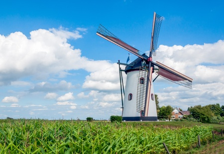 This mill in the Dutch village of Meeuwen. Stock Photo