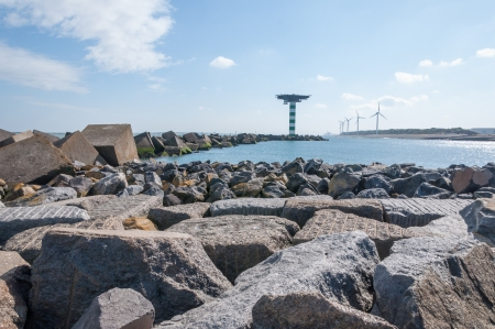 Boulders and concrete block dam near Maasvlakte 2, the port of Rotterdam's land reclamation project. The concrete cubes weigh over 40 tonnes a piece and measure 2.5 by 2.5 by 2.5 m. photo