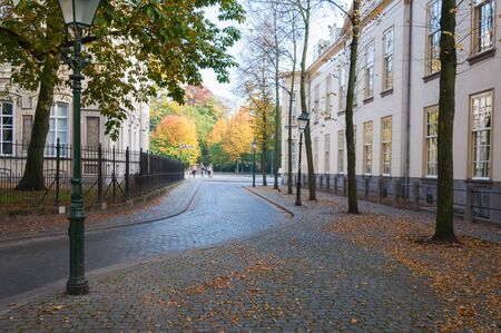 An old Dutch street in autumnal colors. photo