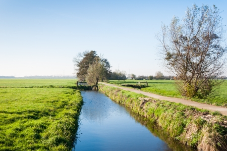 polder: Rural polder landscape  in the Netherlands. it is autumn now. Stock Photo