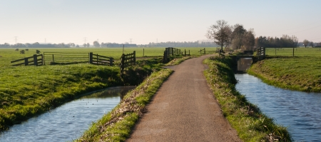 Rural polder landscape with a country road between two ditches and pastures with fences. It is autumn in the Netherlands. Stockfoto