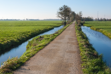 Narrow country road  between ditches and meadows in a Dutch polder landscape in autumn. Standard-Bild