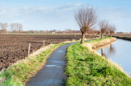 Rural landscape with bare pollard willows and a plowed field waiting for spring. photo