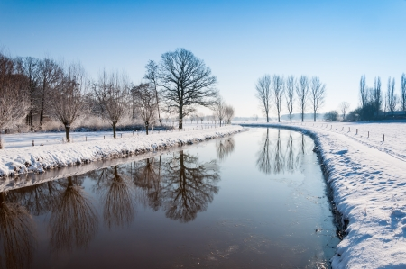 trees reflected in the mirror smooth water surface in a snowy landscape. photo