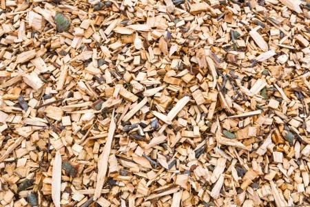 Close-up van een hoop van kleine stukken hout van bomen versnipperd