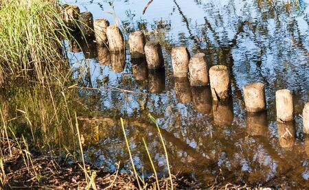 Closeup of wooden poles reflected in the water surface. Stock Photo - 18656216