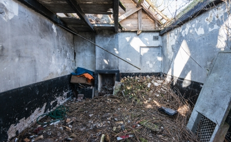 Inter of an abandoned house with a collapsed roof. Stock Photo - 18786304