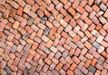 loosely: Loosely stacked brick wall at an old brick factory in Belgium. All baked from the same clay but still not identical.