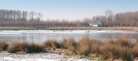 bullrush: House at an icy natural pond lined with reeds, bullrush and trees