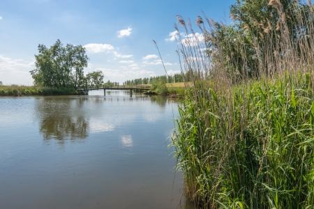 Malerische niederländischen Landschaft mit einer Brücke über einem plätschernden Wasseroberfläche