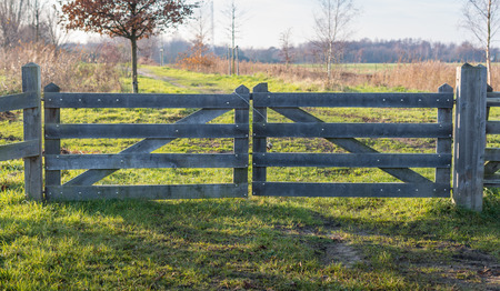 land locked: Wooden gate close with a cable and a padlock seen in backlight  Stock Photo
