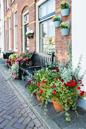 Closeup of pots with colorful flowering plants in a street in the Dutch village of Middelharnis photo