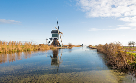 Typical polder landscape in the Netherlands with a row of two windmills reflected in the mirror smooth water surface. photo