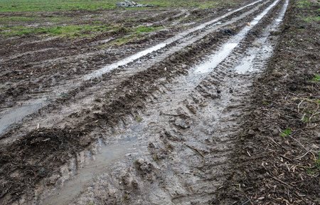 muddy tracks: Converging tire tracks in the muddy clay ground of a farm field on a rainy day at the end of the winter season. Stock Photo