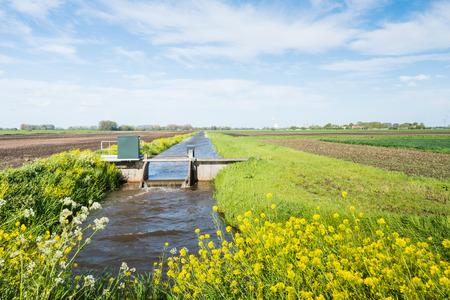 Kleine stuw in een stroom van water controle in een Nederlandse ponder