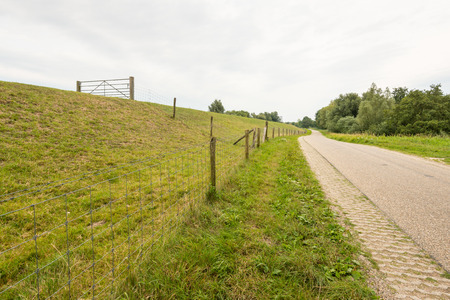 country landscape: Embankment with a fence and a gate along a meandering country road in a Dutch landscape on a cloudy summer day.