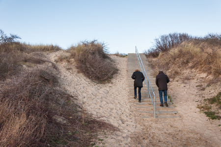 senior men: Two people climb the stairs to Dutch dunes. It is winter and the shrubs are leafless and bare. Stock Photo