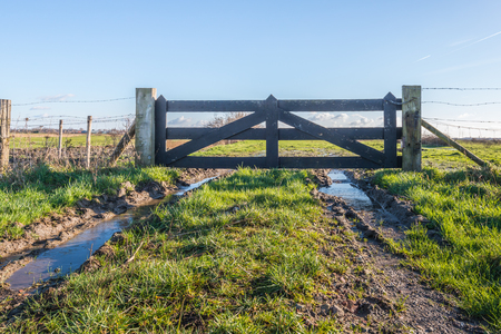 metal gate: Backlit image of an heavy wooden gate at the edge of a meadow. In the wheel tracks is water with a thin layer of ice. Its a sunny day in the winter season.
