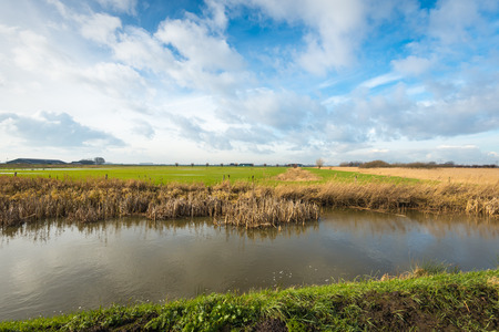 yellowing: Polder landscape with a broad waterway in the foreground with brown and yellowing reeds at the banks. It is winter and there are impressive clouds in the sky.