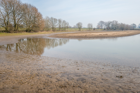 floodplain: Partially flooded floodplain near a Dutch river. It is at the end of the winter season and the water level is decreasing already.