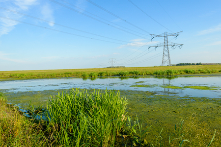 Power lines and pylons in a marshy nature reserve in the Netherlands at the end of a sunny day in the summer season. Stock Photo