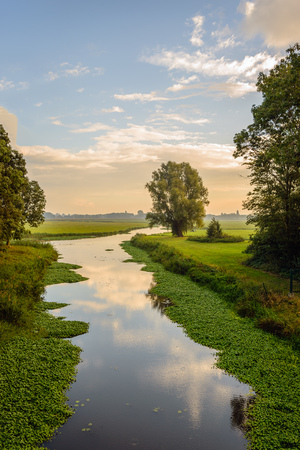 Small meandering stream in a Dutch rural landscape early in the morning of a sunny day in the beginning of the fall season. Stock Photo