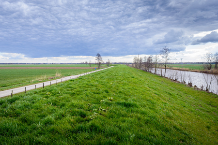dike: Curved embankment in a polder in the Netherlands on a cloudy day in the beginning of the spring season. Next to the dike is a canal and on the oTher hand, a narrow country road.